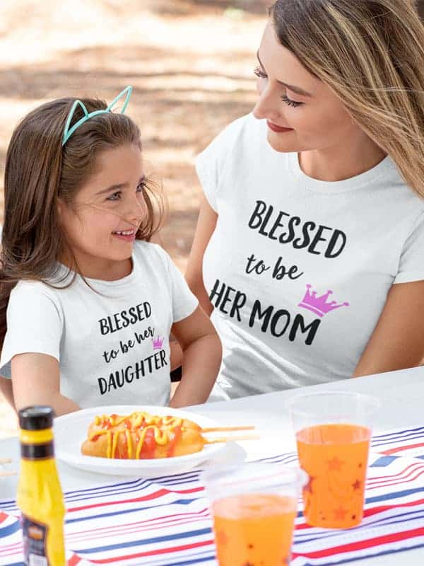 blessed to be her mom moeder dochter t-shirts